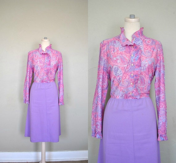 Vintage Pink Dress / Purple Pink Dress / Girly Dress / Vintage 1970s Paisley Dress / Pink and Purple Medley Vintage Dress