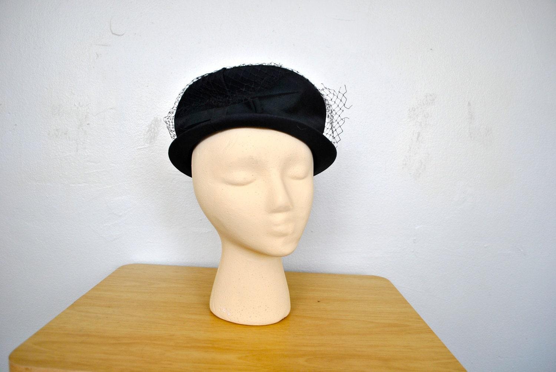 s black 1950s top hat with birdcage by wayfaringmagnolia