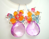 Pink Mystic Quartz Blue Apatite Orange Carnelian Pink Quartz Sterling Silver Cluster Earrings