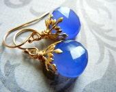 Blueberry - Unusual Royal Blue Chalcedony Faceted Heart Teardrop Briolette 14K Gold Fill Earrings