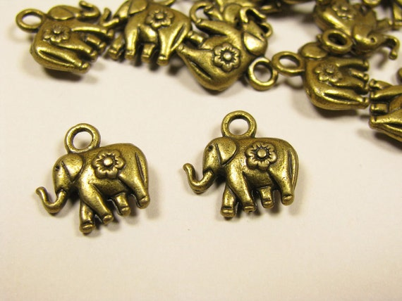 15pcs Small Metal Beads Antique Style Charm Elephant