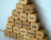 21 Vintage Wooden Game Pieces....Word Cubes......Mixed Media, Altered Art, Scrapbooking, Assemblage