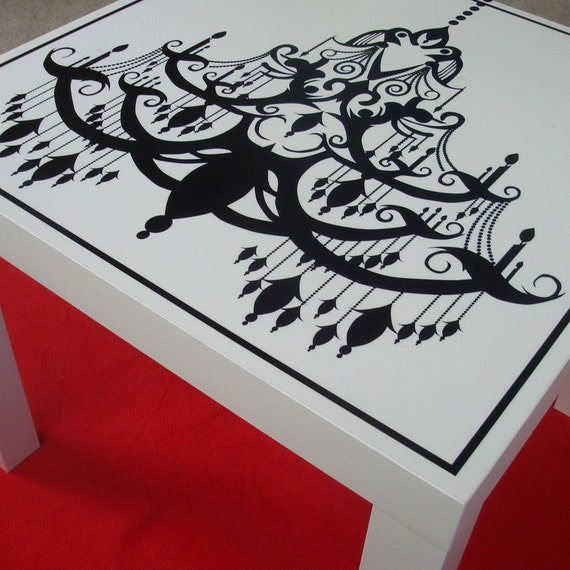 Black And White Chandelier Silhouette Table