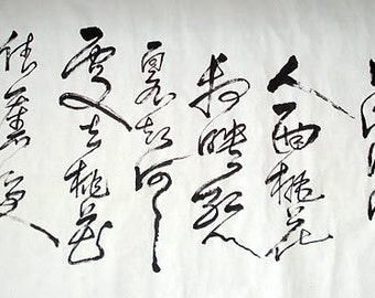 CHINESE CALLIGRAPHY--The Lady's face and peach blossoms