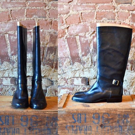 Size 10 Vintage Women's Black Entienne Aigner Calf Riding Boots With Buckle