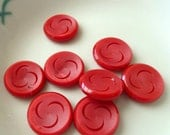 Vintage Circa 1970s Red Buttons Cresent Moon Pattern