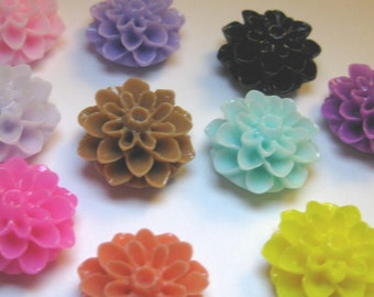 Chrysanthemum Flower Cabochons Resin 15mm, Assorted Colours x 20 pcs