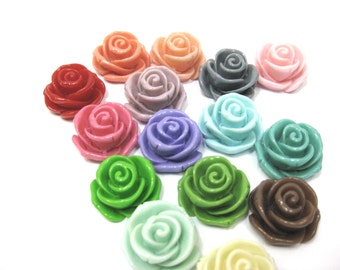 Rose Cabochons  23mm Assorted colours x 10