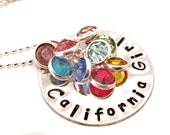 California Girls, Hand stamped silver necklace with Swarovski