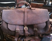 Leather cabin bag - tough leather travel bag sports gym holdall outdoor travel bag - hand sewn by Aixa - LUSCIOUSLEATHERNYC
