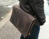 Gansevoort briefcase - handmade leather briefcase - double gusset, laptop, portfolio, computer bag, dark brown handmade leather bag by Aixa