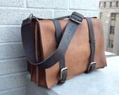 Gold briefcase, handmade leather bag, men's work briefcase, large triple gusset bag, handmade bags, briefcases & satchels by Aixa, bag maker