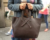 Sale Leather Tote Bag hand sewn by Aixa Sobin