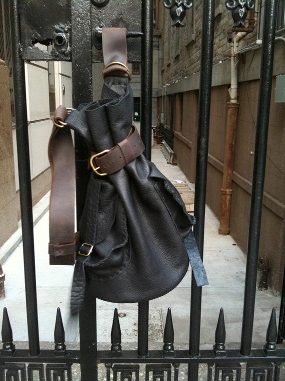 Wooster leather backpack, handmade leather bag, soft leather rucksack, leather travel bag, leather pocket backpack handmade by Aixa Sobin