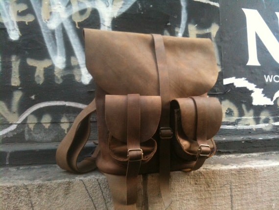 Tan Leather rucksack hand stiched