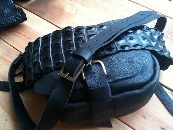 Black Handbag Leather Soft Hobo Bag Handmade Cross-body Purse Real Alligator Shoulder Strap Boho Chic Bags by Aixa Sobin