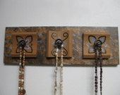 Reclaimed Wood Wall Hanger with reclaimed hardware - hand painted - eco decor - eco mom