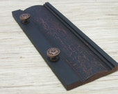 Reclaimed Wood Wall Hanger with Reclaimed Copper Knobs, Ecofriendly home decor, black crackle
