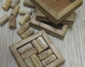 Reclaimed Wood DIY Wine Cork Coaster Kit - honey, set of 4