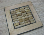 Wine Cork Bulletin Board - made from reclaimed wood, honey stain with blue accent