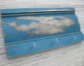 Distressed Wood Wall Hanger, Vintage Blue on Reclaimed Wood, Weathered Teal with hooks - team fest