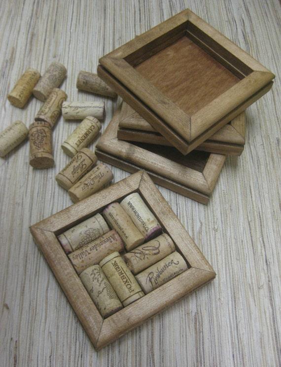 Reclaimed Wood DIY Wine Cork Coaster Kit - honey, set of 4
