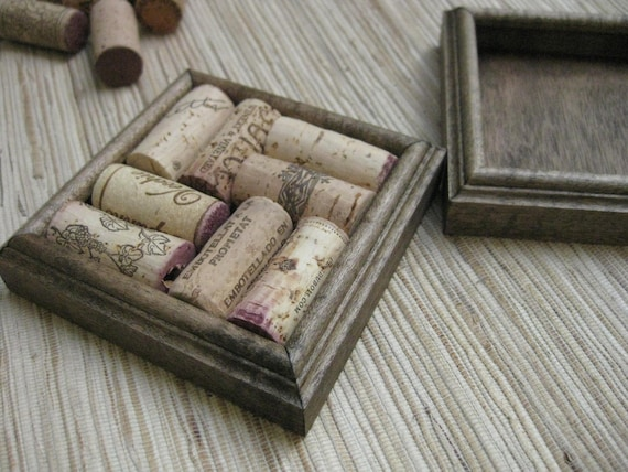 Crafts for Wine Corks - DIY Coasters - dark brown on reclaimed wood, recycled home decor