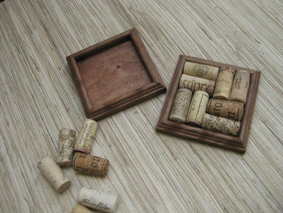 wood wine cork coasters diy set of 2 rustic brown on