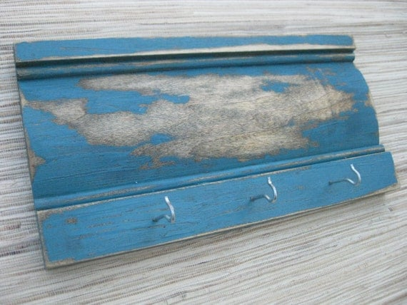 Distressed Wood Wall Hanger, Vintage Blue on Reclaimed Wood, Weathered Teal with hooks - team fest