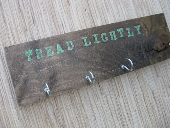 Rustic Old Wood Wall Hanger, Reclaimed, Weathered - Tread Lightly, hooks