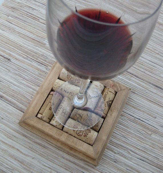 RESERVED for K.G. Wine Cork Coasters - DIY set of 4 - honey on reclaimed wood - save your wine corks