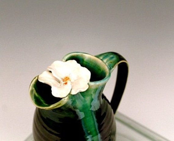 White Wild Rose Handmade Pottery Pitcher Emerald Green