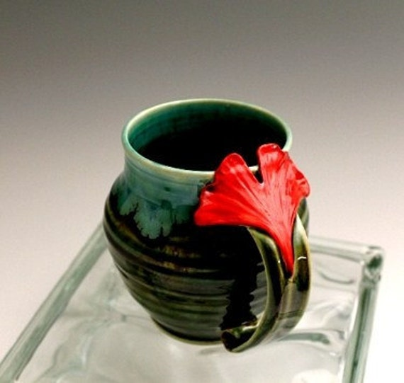 Ginkgo Leaf Hand Made Stoneware Pottery Coffee Mug Emerald Green