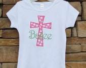 Girls Cross Shirt or Bodysuit, Monogrammed, Personalized, YOU DESIGN, Easter, Christening, Church, Everyday