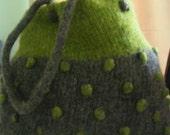 Bobble bag - lime green and grey
