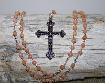 Gemstone Rosary -- Handmade Genuine Light Orange Aventurine Gemstone Rosary