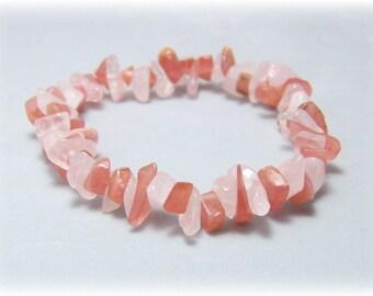 Stretch Bracelet - Gemstone Bracelet - Rose Quartz, Cherry Quartz Glass, Bead Bracelet, Gemstone Jewelry
