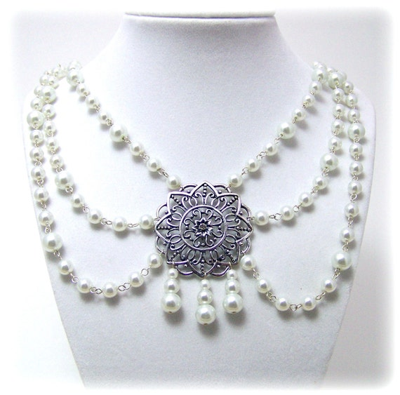 Medieval Necklace - Renaissance Jewelry - Medieval Jewelry - Three Strand Pearl Necklace, Tudor Jewelry, SCA