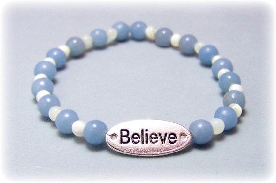 Stretch Bracelet - Gemstone Bracelet - Angelite Bracelet, Gemstone Stretch Bracelet, Bead Bracelet, Gemstone Jewelry