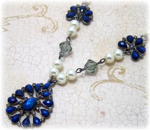 Victorian Necklace - Renaissance Jewelry - Medieval Jewelry - Pearl & Swarovski Crystal Necklace, Tudor, SCA, Victorian Jewelry