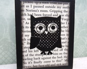 Polka Dot Owl Wooden Block - Made from VINTAGE BOOK PAPER - for your desk-shelf-bookcase-office-baby room