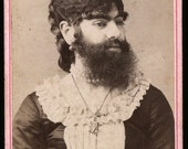 RESERVED // Very Rare CDV Photo of Victorian Sideshow Freak Fat / The Bearded Lady