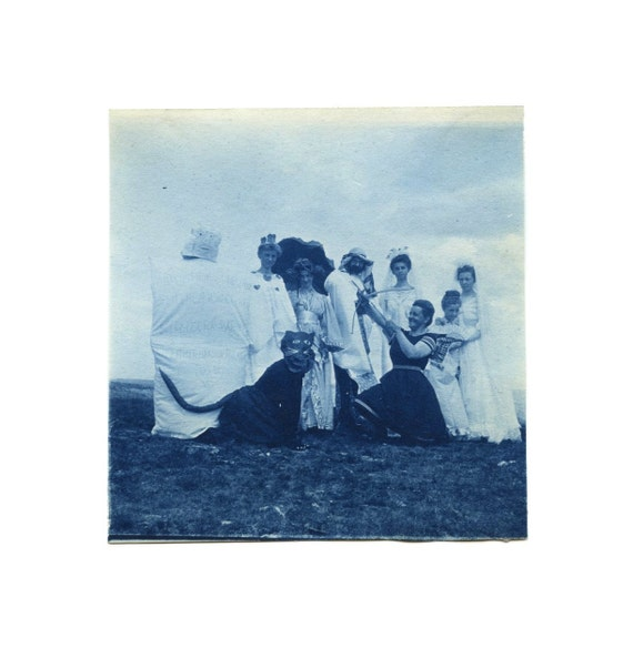 WEEKEND SALE / c.1900 Blue Cyanotype Photo / A Victorian Halloween / People in Costumes Including Cat