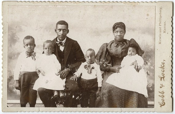 Rare 1890 Cabinet Card Photo of African American / Black Family