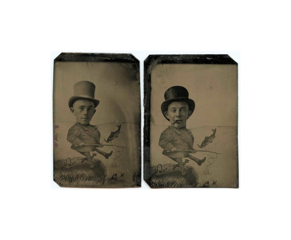 ON SALE / Wonderful Set of Two Antique Tintype Cartoon / Caricature Photos / Fishing Men in Big Hats