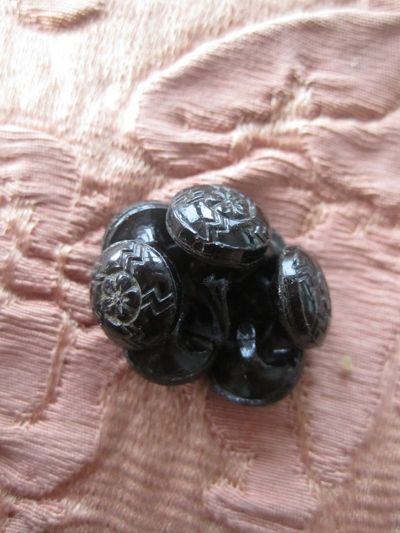 Vintage Glass Buttons, Black Buttons,  Lot of 7, Shabby Chic, Button Collection, Small Antique Buttons