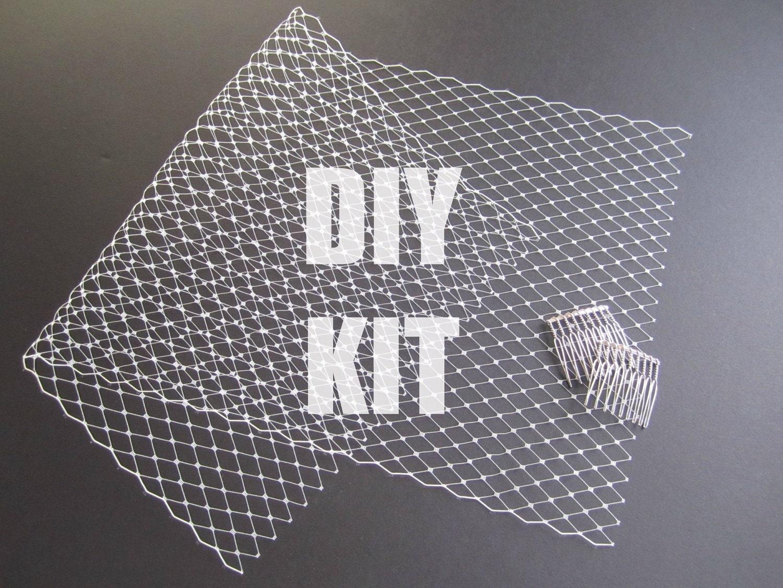 DIY Bandeau Birdcage Veil Kit Tutorial Make an Ivory Bridal  DIY Bandeau Bir...