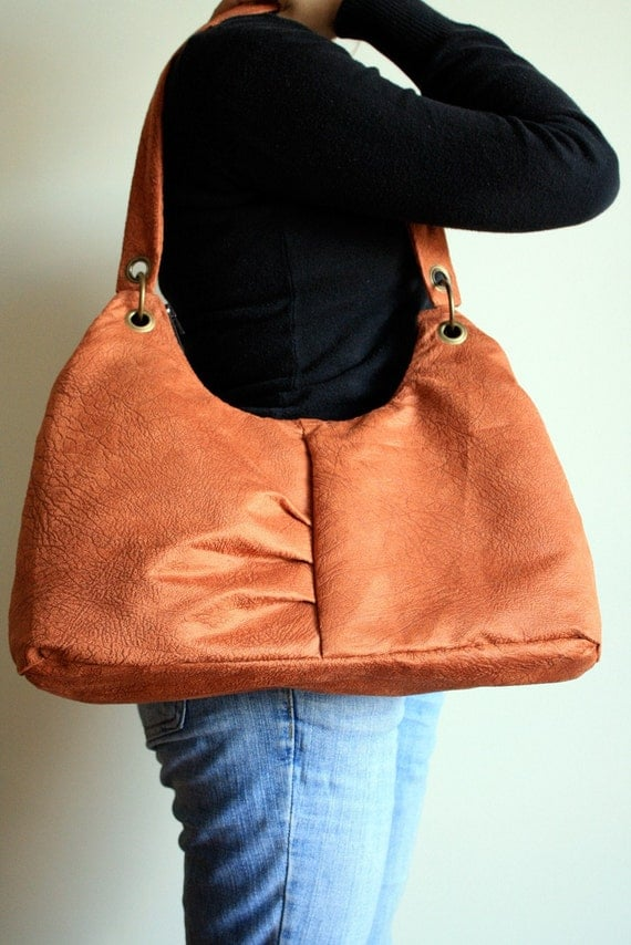 DONA Orange Suede Bag