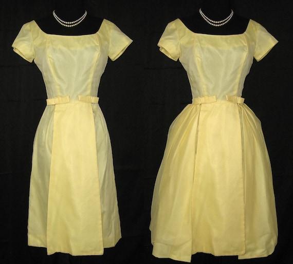 50s-60s Party Dress detachable overskirt, Nylon & Satin - Vintage cocktail, wedding dress  - S - PRICE REDUCED