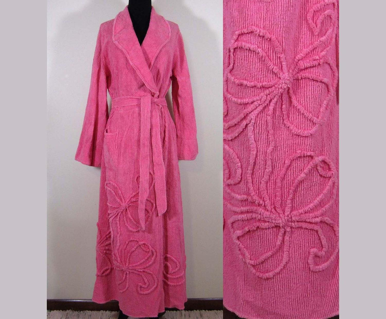 Vintage Pink Chenille Robe Floor Length M L